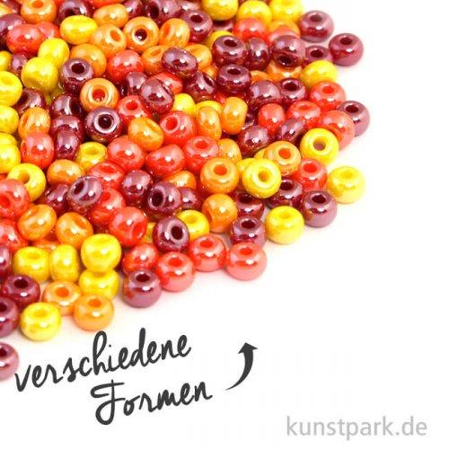 Glas-Großlochradl Rot-Gelb Mix, opak