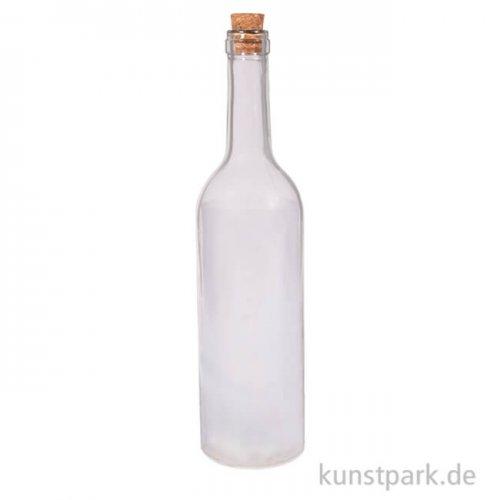 Glas-Leuchtflasche mit LED-Lichterkette und Sternfolie, Höhe 30 cm