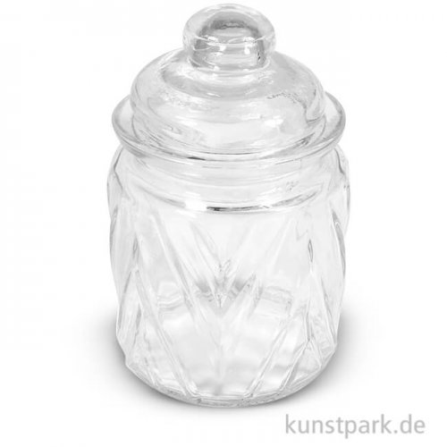 Glas mit Glasdeckel Chevron, Höhe 12,5 cm, 280 ml