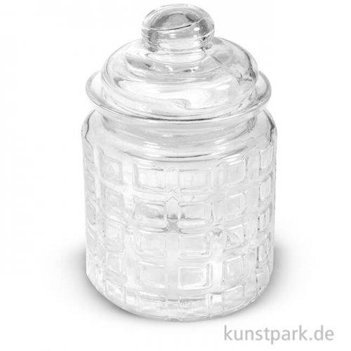 Glas mit Glasdeckel Karos, Höhe 12,5 cm, 280 ml