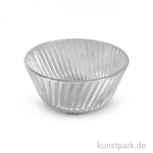 Glas Schale mit Rillen, 7 cm, 2 Stück