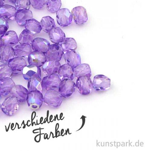 Glas Schliffperlen irisierend - 3 mm - 100 Stück