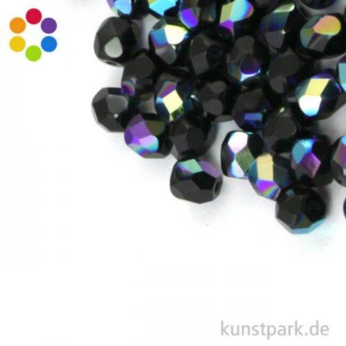 Glas Schliffperlen irisierend - 4 mm - 100 Stück