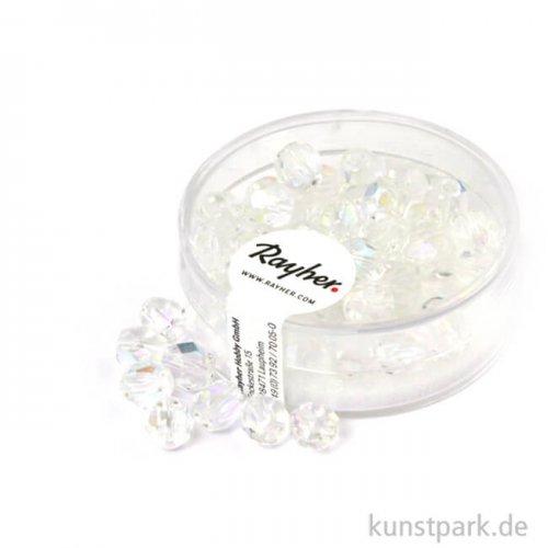 Glas Schliffperlen irisierend - 6 mm - 50 Stück 50 Stk.   Bergkristall