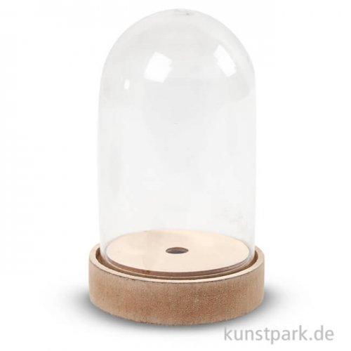 Glasglocke mit Holzfuß 18 cm