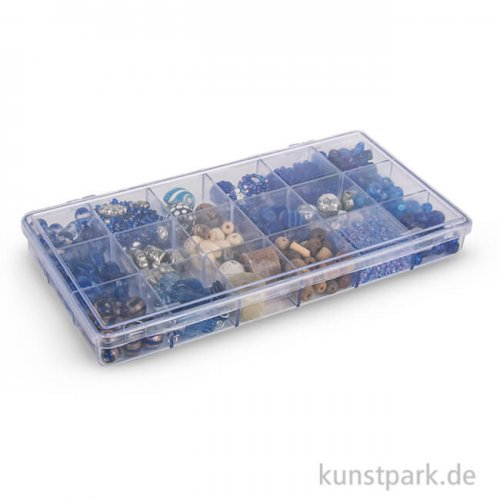 Glasperlen-Mix in Kunststoffbox, 240 g - Aquamarin