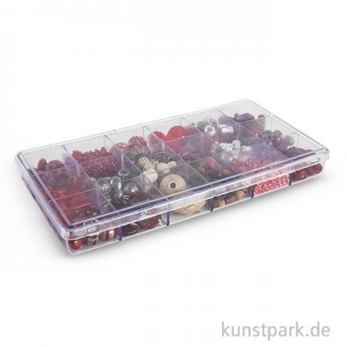 Glasperlen-Mix in Kunststoffbox, 240 g - Rubin