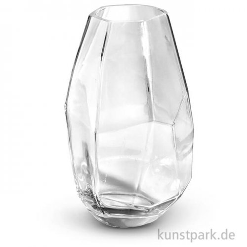 Glasvase facettiert 750 ml, 10x10x18 cm