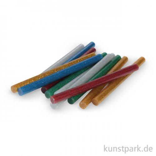 Glitter-Heißklebesticks, 10x0,75 cm, 12 Stück sortiert