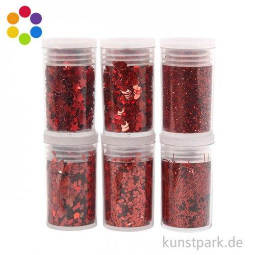 Glitter Sortiment in Streudose, 6x5g sortierte Formen