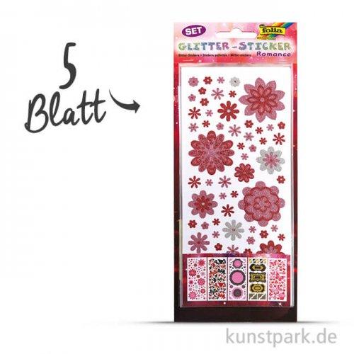 Glitter-Sticker - Romance, 10x23 cm, 5 Blatt sortiert