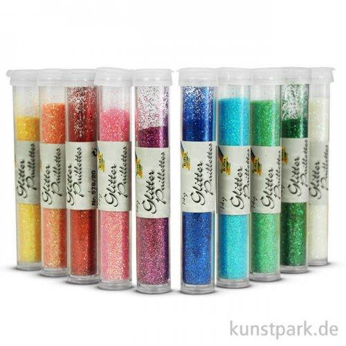 Glitterpulver, 10x14g Tuben - farbig sortiert