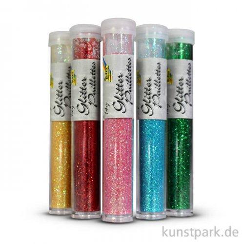 Glitterpulver, 5x14g Tuben - farbig sortiert