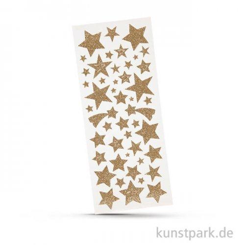 Glitzer-Sticker Sterne, 2 Blatt mit verschiedenen Motiven Gold