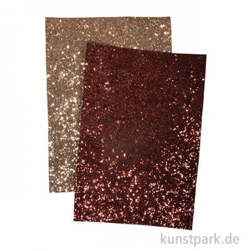 Glitzerstoff - Gold & Nougat, 2 Stück, 14,8 x 21 cm