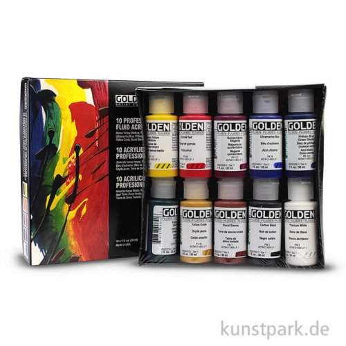 GOLDEN Fluid Professional - Acrylfarben, 10 Flaschen 30 ml