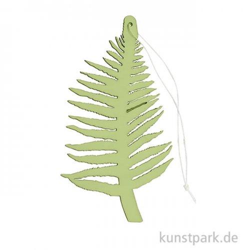 Grüner Farn aus Holz mit Hänger, Länge 15 cm