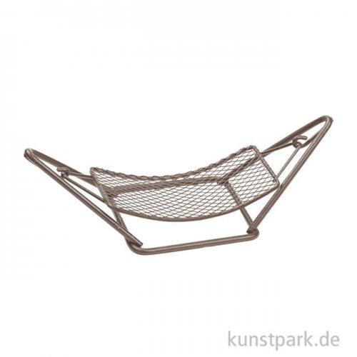 Mini Hängematte aus Metall, 12 cm Braun