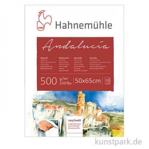 Hahnemühle ANDALUCIA Aquarellkarton, 10 Bogen, 500g rau/matt, 50 x 65 cm