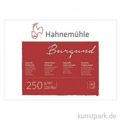 Hahnemühle Aquarell-Postkartenblock, 20 Blatt, 250g rau