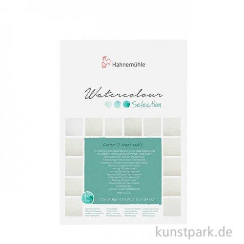 Hahnemühle Aquarellselection, 12 verschieden Papiere 17 x 24 cm