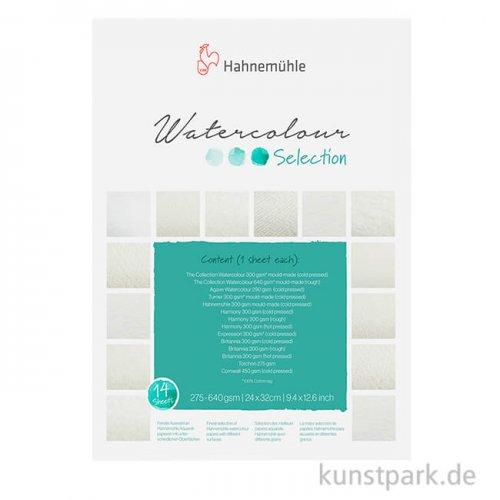 Hahnemühle Aquarellselection, 12 verschieden Papiere 24 x 32 cm