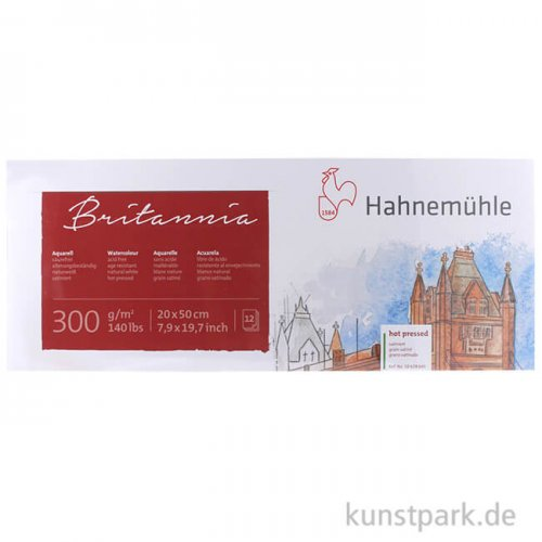 Hahnemühle BRITANNIA Panorama 300g, 12 Blatt, 20 x 50 cm, satiniert
