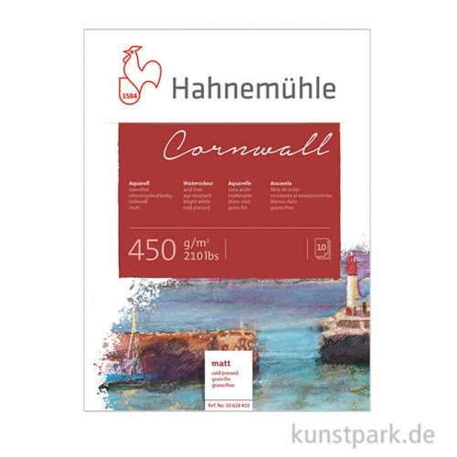 Hahnemühle CORNWALL Aquarellblock, 10 Blatt, 450g matt 36 x 48 cm