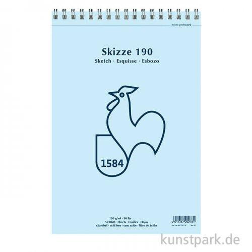 Hahnemühle SKIZZE 190, 1584 Skizzenblock, 50 Blatt, 190g, spiral