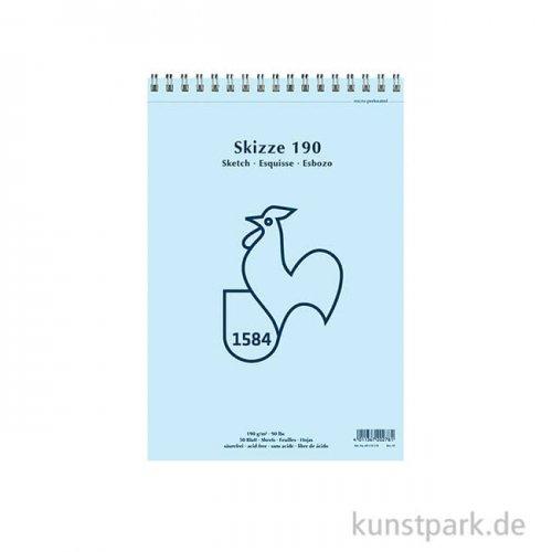 Hahnemühle SKIZZE 190, 1584 Skizzenblock, 50 Blatt, 190g, spiral DIN A3