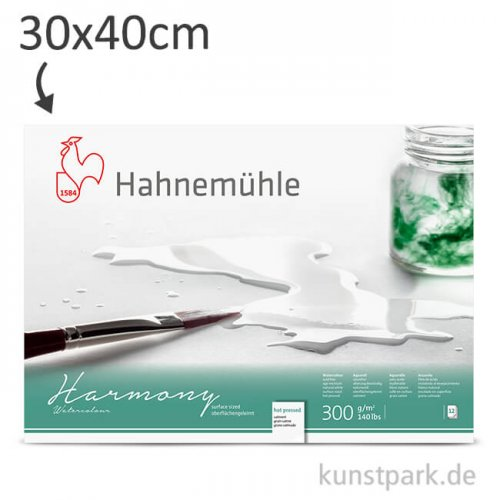 Hahnemühle HARMONY Aquarell Papier, 12 Blatt, 300g - satiniert 30 x 40 cm