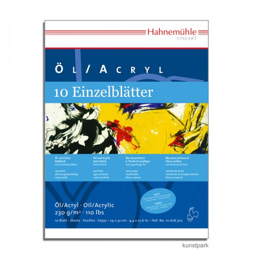 Hahnemühle Öl- und ACRYL Malkarton, 10 Bogen, 230g, 50 x 65 cm, Leinenoptik