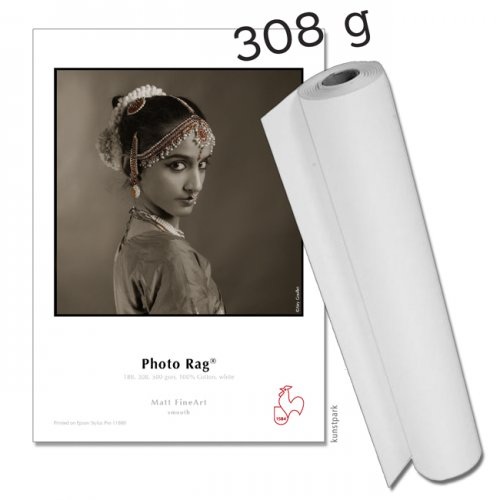 "Hahnemühle Photo Rag 308, 308g 12m Rolle 17"" Breite, 3"" Core"