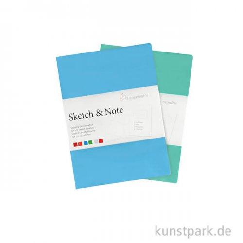 Hahnemühle SKETCH & NOTE, 20 Blatt, 125g, 2 Booklets, Blue DIN A5
