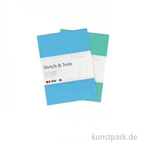 Hahnemühle SKETCH & NOTE, 20 Blatt, 125g, 2 Booklets, Blue DIN A6
