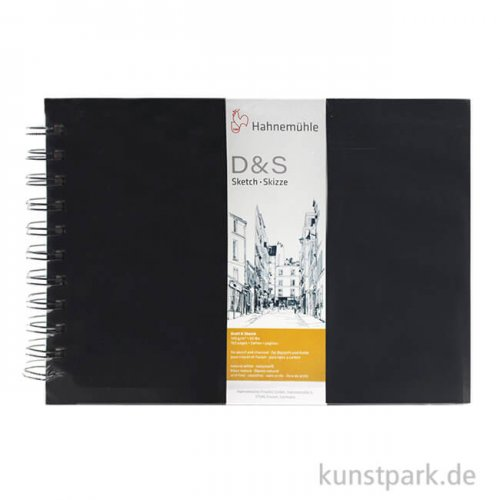 Hahnemühle Skizzenbuch D&S, 80 Seiten, 140g, schwarz, spiral DIN A4 (quer)