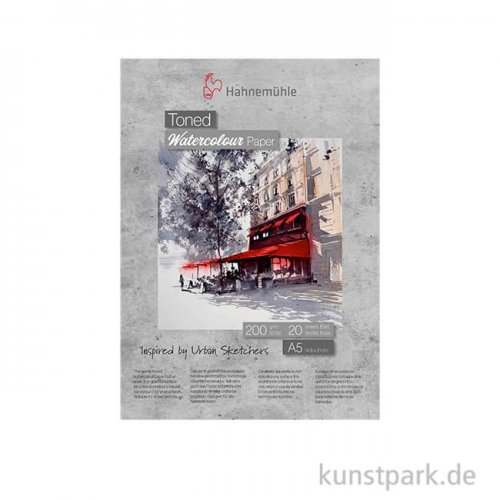 Hahnemühle Toned Watercolour Block Grey, 20 Blatt, 200g DIN A5