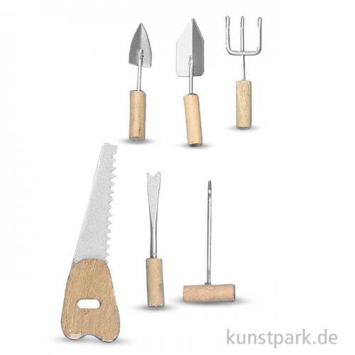 Handwerkzeug-Set aus Holz und Metall, 4-6,5 cm, 6 Stück sortiert