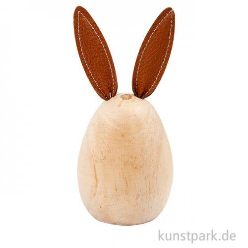Hase aus hellem Holz mit Kunstleder-Ohren, Höhe 13 cm