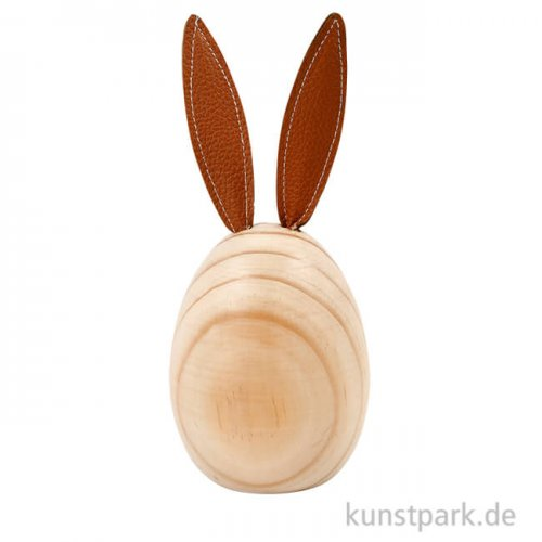 Hase aus hellem Holz mit Kunstleder-Ohren, Höhe 19 cm