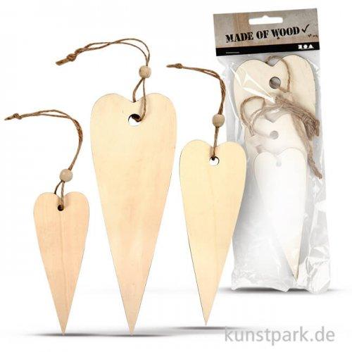 Herzen aus Holz, 12-20 cm, Dicke 5 mm, 3 Stück