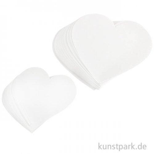Herzen aus Papier, zwei Größen 6-8 cm, ausgestanzt, 50 Stück