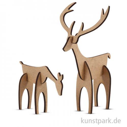 Hirsch und Hirschkuh aus Holz zum Zusammenstecken, 5 - 12,5 cm, 2 Stück sortiert