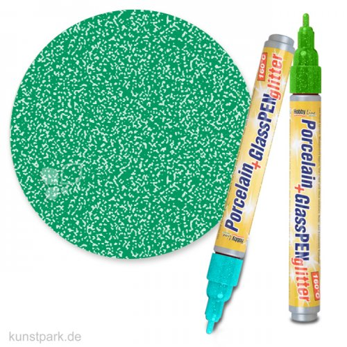 HOBBY LINE Porcelain & Glass Pen 160°C - Glitter 1-3 mm | Hellgrün