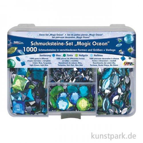 Hobby Line Schmucksteine Set - 1000 Teile, Magic Ocean