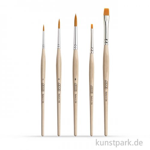 Hobbypinselset A135, 3 Rundpinsel, 2 Flachpinsel