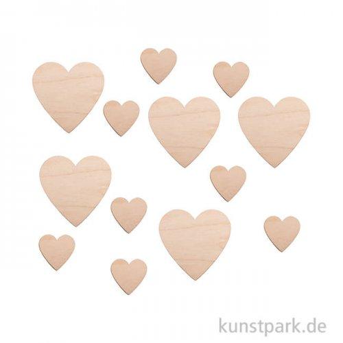 Holz-Herzen, 4 - 8 cm, 31 Stück sortiert