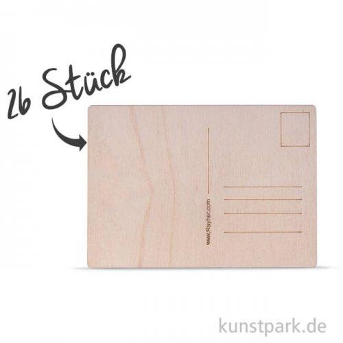 Holz Postkarte - 26 Stück