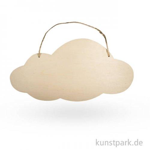 Holz Schild mit Jutegarn - Wolke