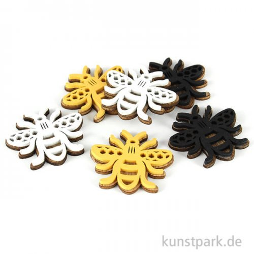Holz-Streuteile Bienen, Größe 4 x 4,3 cm, 6 Stück sortiert